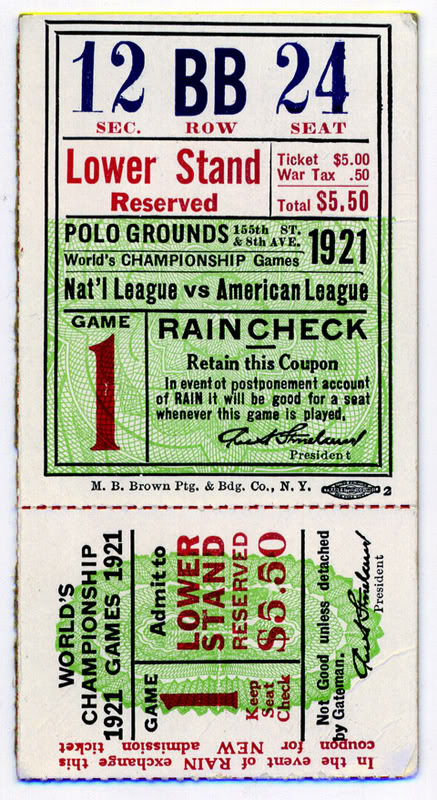 Ticket of 1921 WS
